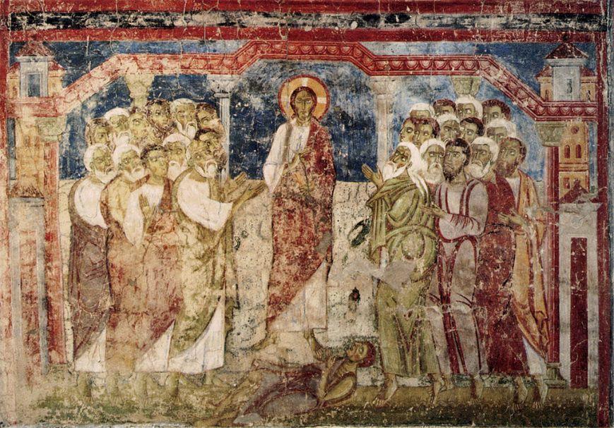 Fresco del exorcismo en la sinagoga de Cafarnaúm (siglo XI), Monasterio de Stift Lambach, Austria